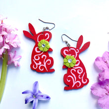 Load image into Gallery viewer, Hand painted Red with Green Flower brooch earrings