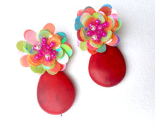 Load image into Gallery viewer, Red Howlite in Sequin Flower