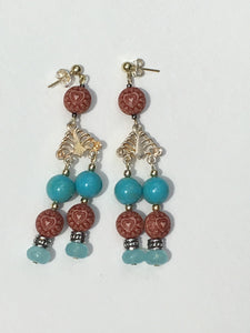 Engraved wood with turquoise bead chandelier earrings