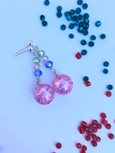 Load image into Gallery viewer, Pink Rose crackled glass sphere and, green, rose, green rose cut glass beads on silver stud earring
