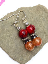 Load image into Gallery viewer, Charming amber and red quartzite with ornate silver waist coat on silver beaded earring