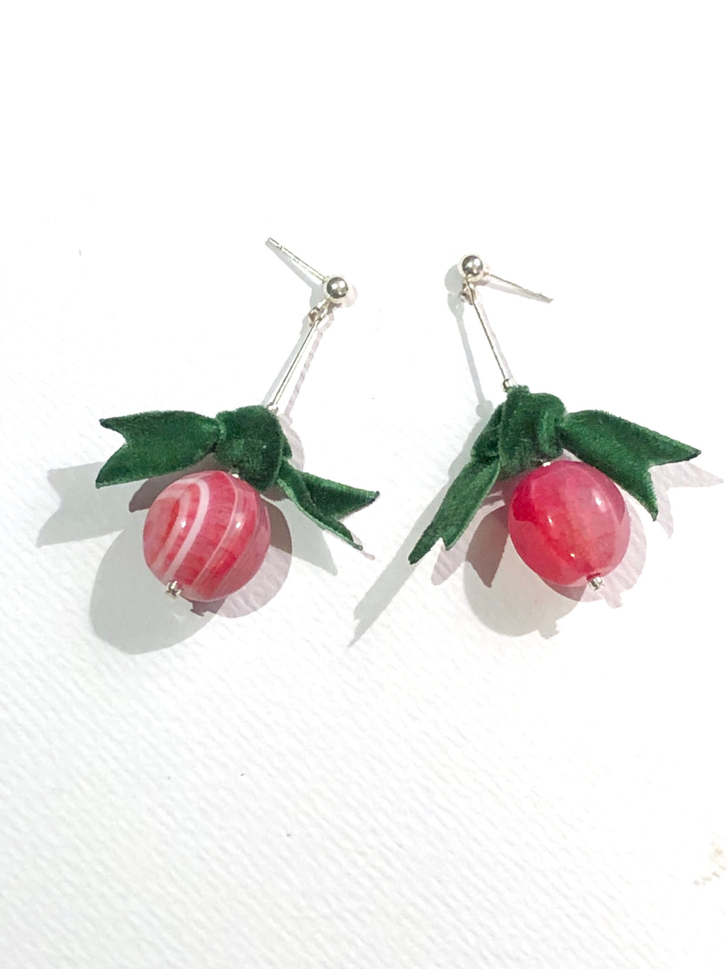 Green Bow Pink Berry Earring