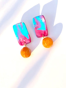 Happy Ocean Blue Pink Yellow Polymer plate with Red Berry Quartzite bead stud earring