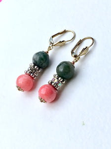 Pink rose quartzite bead on natural marbled green quartzite with Swarovski infinity ring in between both beads on gold latch back earring