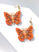 Load image into Gallery viewer, Orange Purple Gold Wood Butterfly on Gold earring stud