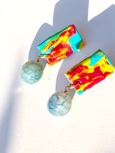 Load image into Gallery viewer, Happy Ocean Blue Pink Yellow Polymer plate with Red Berry Quartzite bead stud earring