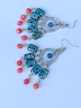 Load image into Gallery viewer, Beautiful Peacock Pink Blue Fan Chandelier Earring