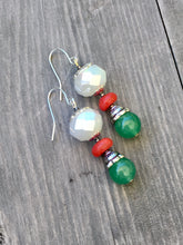 Load image into Gallery viewer, Green quartzite bead with amber red Howlite disc bead on larger white rose cut bead silver earring