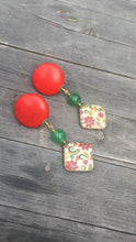 Load image into Gallery viewer, Flower Mosaic on green quartzite on red Howlite disc latch back earring
