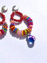 Load image into Gallery viewer, Multicolored Rainbow beaded creole with dyed glass pendant on silver stud