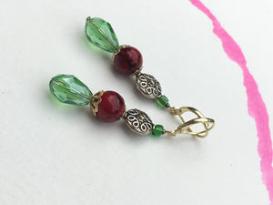 Green teardrop crystal with red structured quartzite on ornate silver plate earring