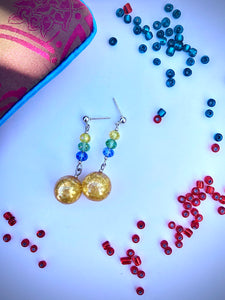 Yellow crackled glass sphere and blue, green, yellow rose cut glass beads on silver stud earring