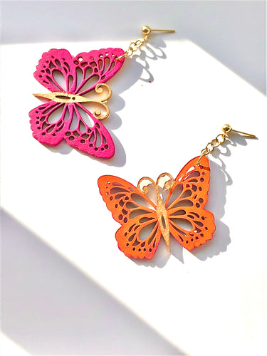 Orange Purple Gold Wood Butterfly on Gold earring stud