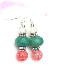 Pearl with pink quartzite and green wood dangle earring