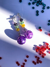 Load image into Gallery viewer, Purple crackled glass sphere and yellow, green, blue rose cut glass beads on silver stud earring