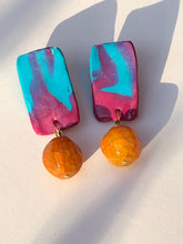 Load image into Gallery viewer, Happy pink blue Polymer with large Orange quartzite bead stud earring