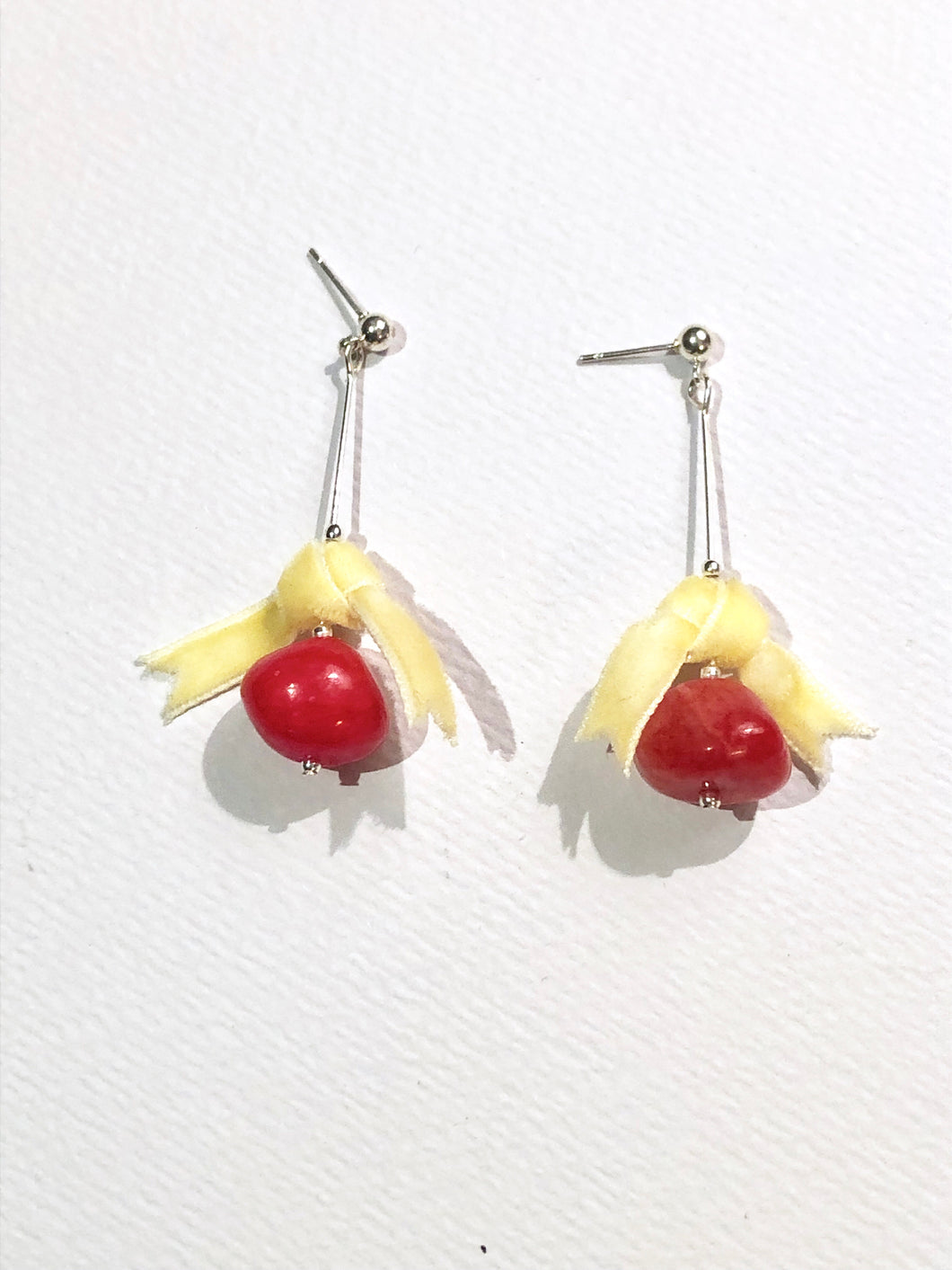 Yellow Bow Red Berry Earring