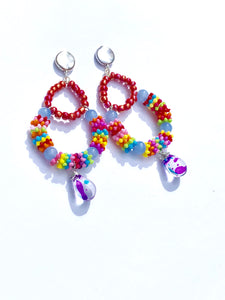 Multicolored blue Rainbow creole glass pendant on silver stud earring