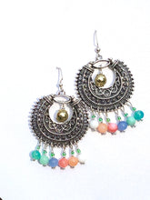 Load image into Gallery viewer, Darling Ornamentale Silver crescent with rainbow colored Quartzite beads earrings