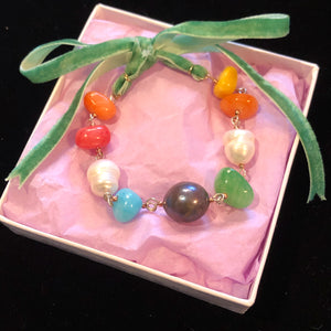 Rainbow Stone Pearl Bracelet with Custom Coloured Tie