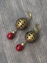 Load image into Gallery viewer, Ornate Brass Globe with red quartzite stone gold earrings