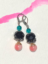 Load image into Gallery viewer, Black rose cut bead with pink rose quartzite and turquoise glass finial in silver latch back earring.