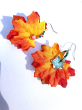 Load image into Gallery viewer, Fun fall colored red fabric leaves with turquoise Quartzite bead earrings