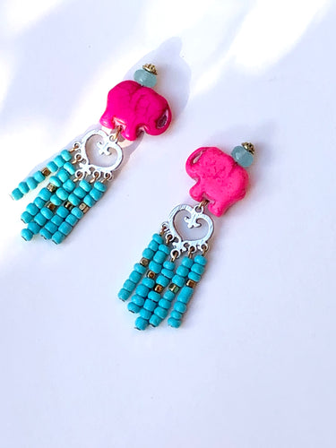 Beautiful lovely Pink Elefant Tassle studs earring