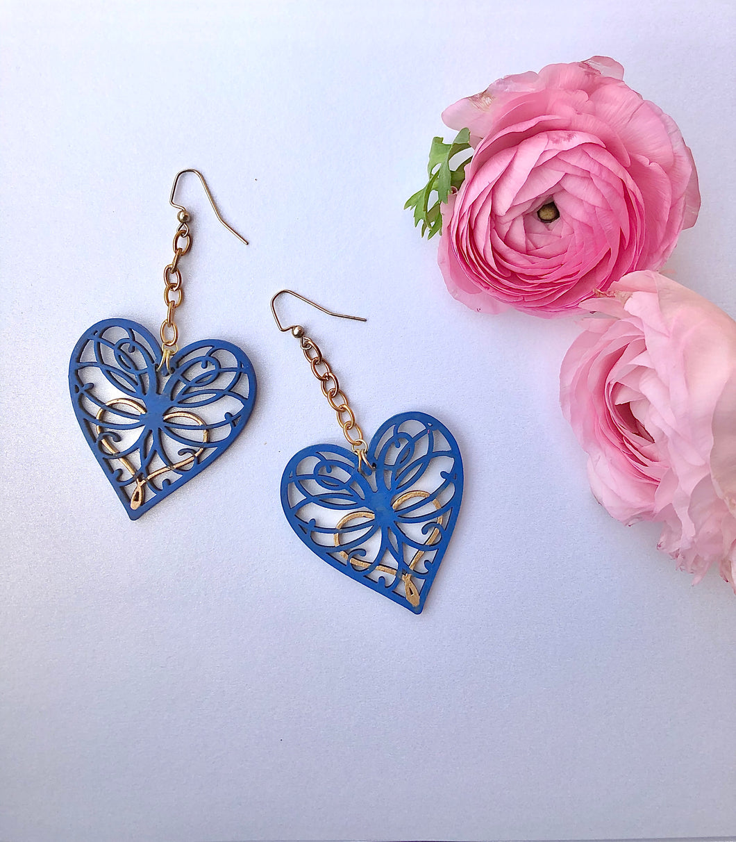 Blue Clay Paint and Gold hand painted Wood Hearts on drop and dangle threader earring