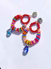 Load image into Gallery viewer, Multicolored pink Rainbow beaded creole with dyed glass pendant on silver stud earring