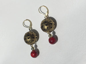Ornate Brass Globe with red quartzite stone gold earrings