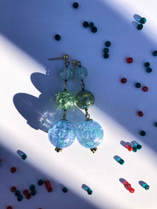 Aqua blue Sphere and green cracked glass beads on silver stud earring