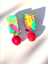 Load image into Gallery viewer, Happy Ocean Blue Pink Yellow Polymer plate with Blue Quartzite bead stud earring