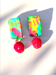 Happy Ocean Blue Pink Yellow Polymer plate with Blue Quartzite bead stud earring