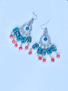 Beautiful Peacock Pink Blue Fan Chandelier Earring