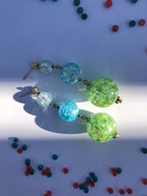 Load image into Gallery viewer, Green Sphere and blue cracked glass beads on silver stud earring