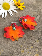 Load image into Gallery viewer, Fall leaves with turquoise blue Quartzite earring