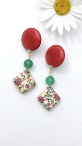 Flower Mosaic on green quartzite on red Howlite disc latch back earring
