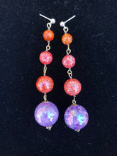 Load image into Gallery viewer, Pink Sphere and orange cracked glass beads on gold stud earring
