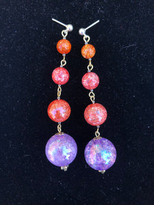 Pink Sphere and orange cracked glass beads on gold stud earring