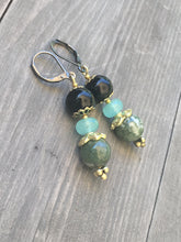 Load image into Gallery viewer, Black bead with aqua rose cut and green marbled quartzite stone earrings