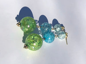 Green Sphere and blue cracked glass beads on silver stud earring