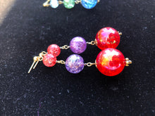 Load image into Gallery viewer, Red Sphere and purple cracked glass beads on silver stud earring