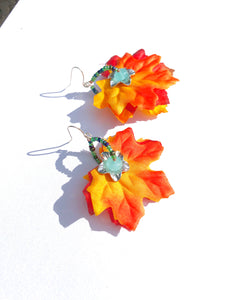 Fun fall colored red fabric leaves with turquoise Quartzite bead earrings