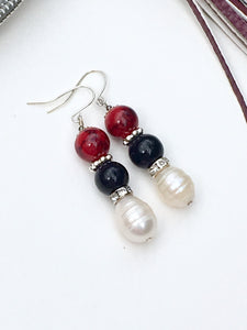 Elegant timeless white large freshwater pearl on black and red quartzite bead with Swarovski sequin divider on silver threader earring