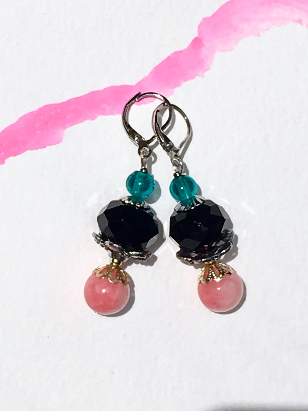 Black rose cut bead with pink rose quartzite and turquoise glass finial in silver latch back earring.