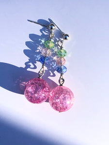 Pink Rose crackled glass sphere and, green, rose, green rose cut glass beads on silver stud earring