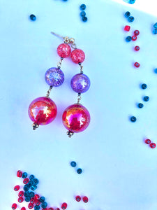 Red Sphere and purple cracked glass beads on silver stud earring