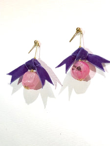 Purple Bow Rose Berry Earring