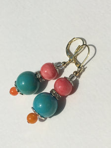 Turquoise with pink & amber quartzite stone earring Active
